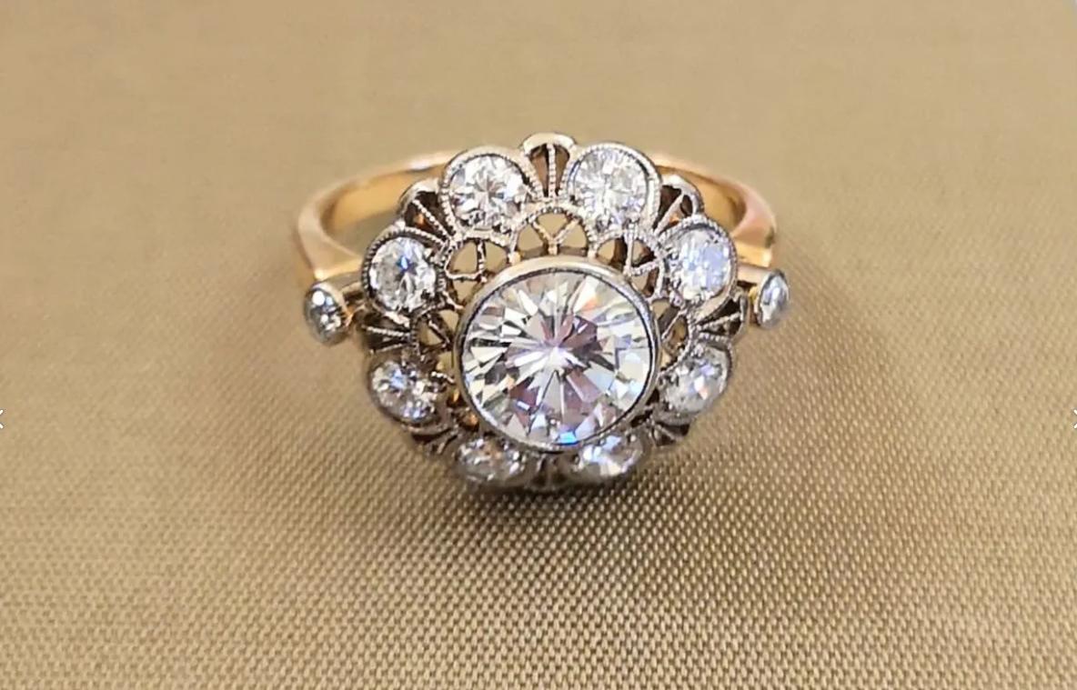 Золотое винтажное кольцо с бриллиантами СССР 1967г-1
